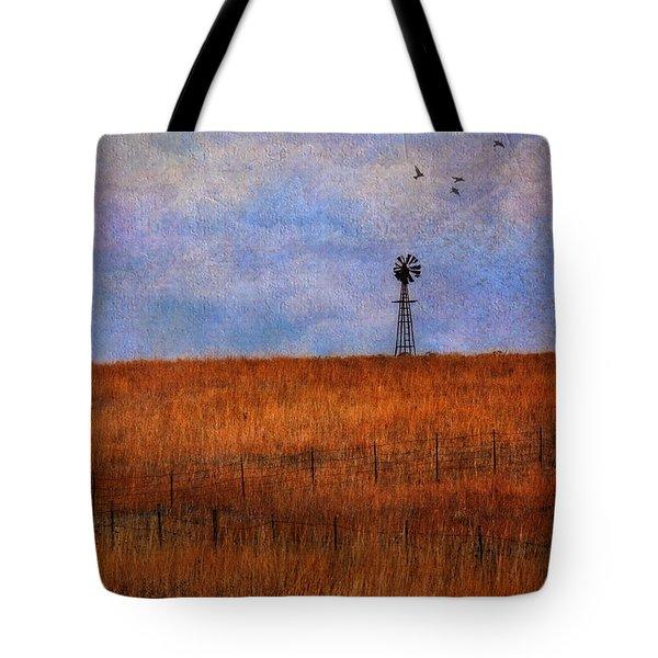 Autumn Prairie Windmill Tote Bag