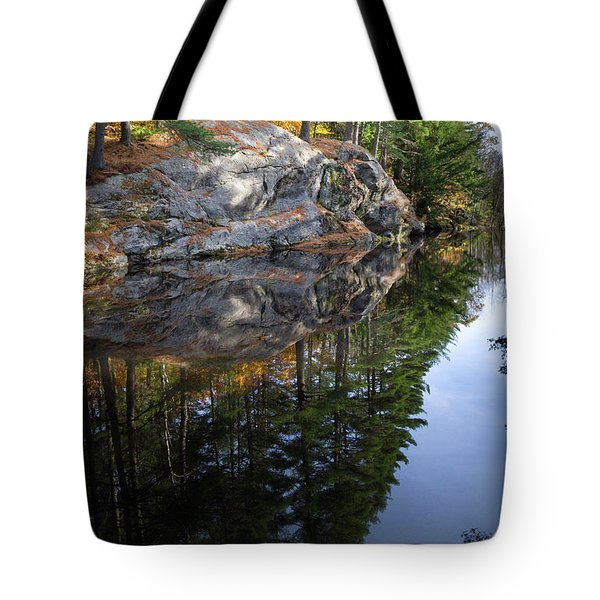 Autumn Reflections At Runaround Pond In Durham Maine  -20224 Tote Bag