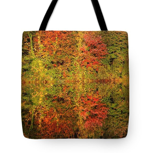 Tote Bag featuring the photograph Autumn Reflections In A Pond by Smilin Eyes  Treasures