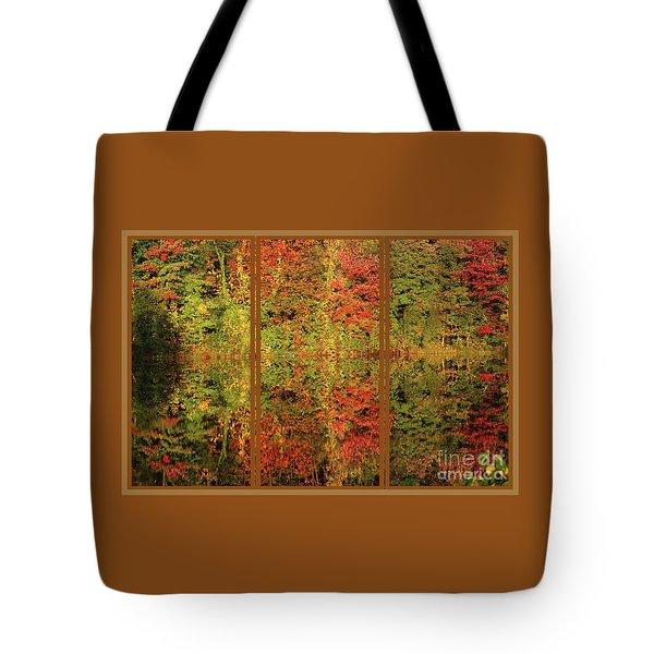 Tote Bag featuring the photograph Autumn Reflections In A Window by Smilin Eyes  Treasures