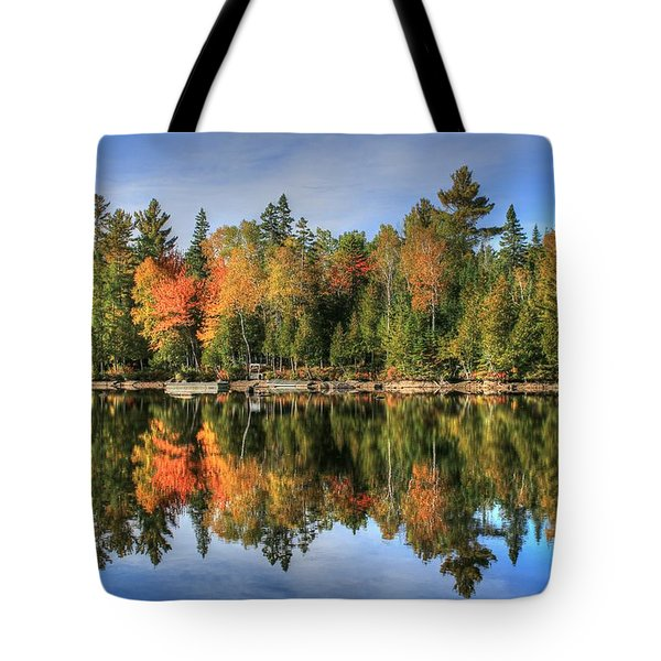 Tote Bag featuring the photograph Autumn Reflections Of Maine by Shelley Neff