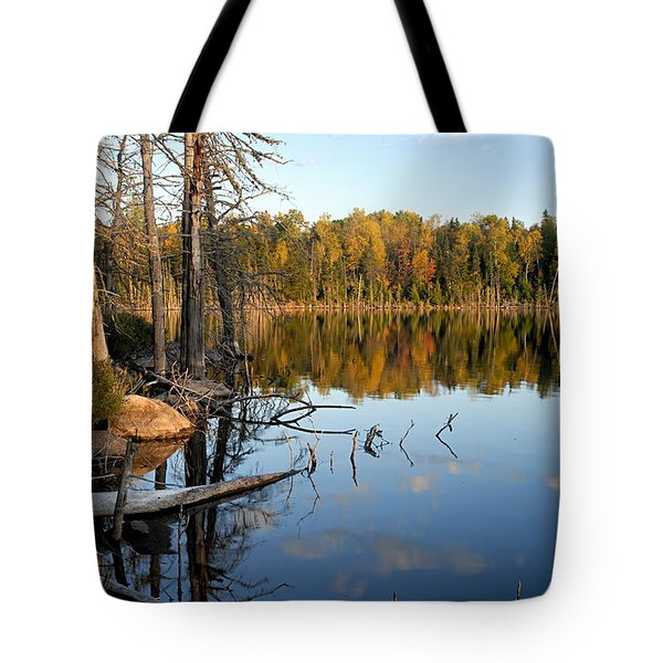 Autumn Reflections On Little Bass Lake Tote Bag by Larry Ricker