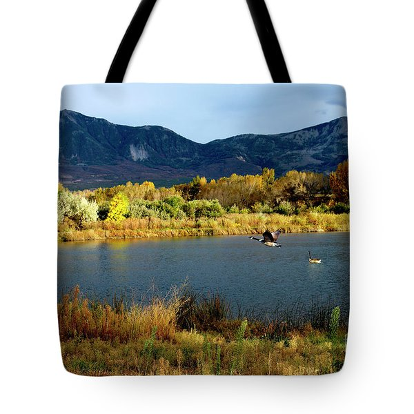 Autumn Rest Stop For Canadian Geese Tote Bag