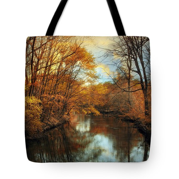 Autumn River Lights Tote Bag by Jessica Jenney