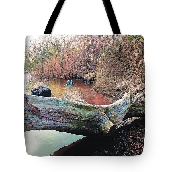 Tote Bag featuring the photograph Autumn Riverside by Roger Bester