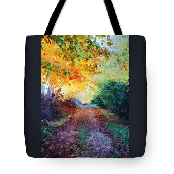 Autumn Road Tote Bag by Diane Alexander