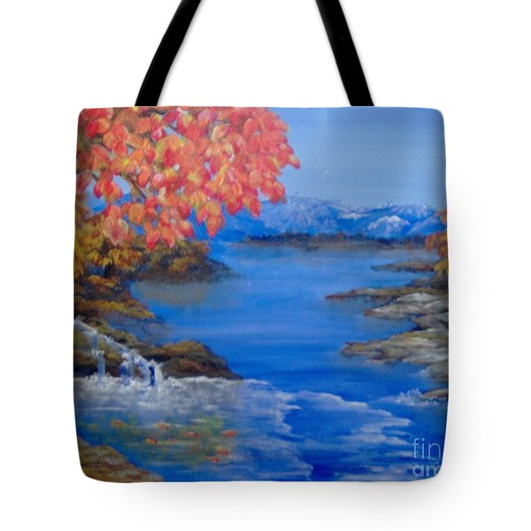 Tote Bag featuring the painting Autumn by Saundra Johnson