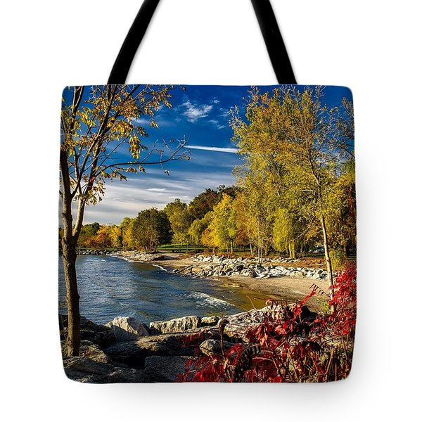 Autumn Scene Lake Ontario Canada Tote Bag