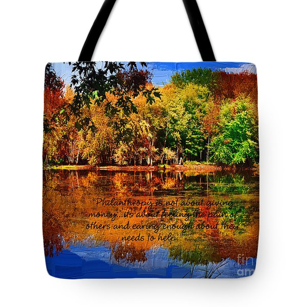 Autumn Serenity Philanthropy Painted Tote Bag by Diane E Berry