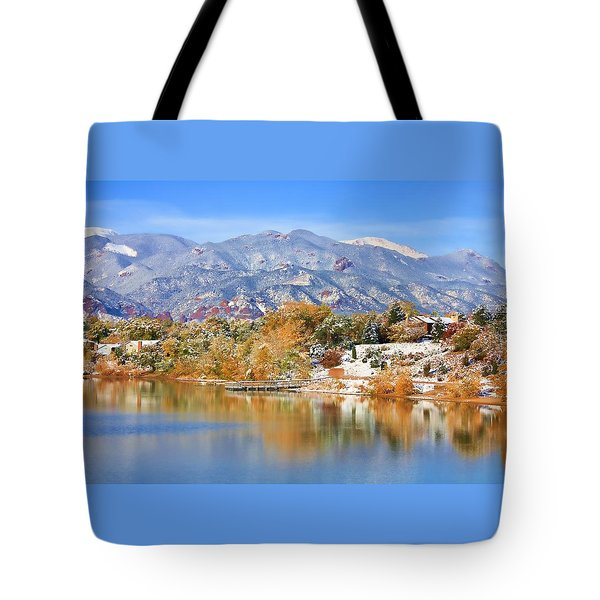 Autumn Snow At The Lake Tote Bag