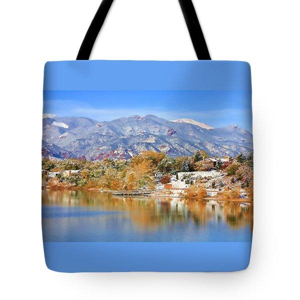 Autumn Snow At The Lake Tote Bag