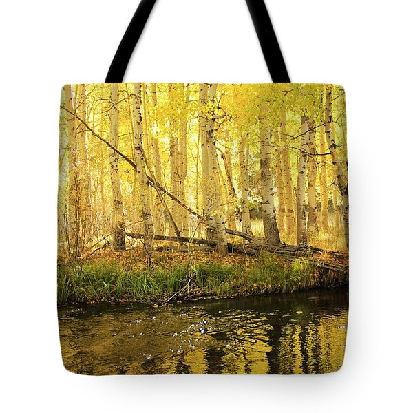 Autumn Soft Light In Stream Tote Bag