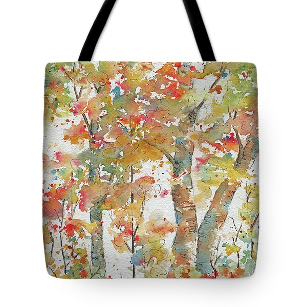 Tote Bag featuring the painting Autumn Splendor by Pat Katz