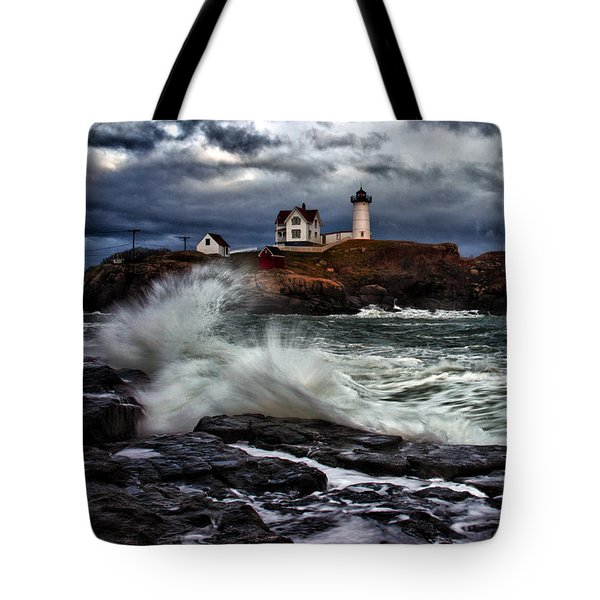 Autumn Storm At Cape Neddick Tote Bag by Rick Berk