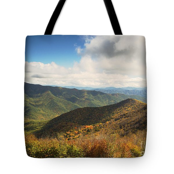 Autumn Storm Clouds Blue Ridge Parkway Tote Bag by Nature Scapes Fine Art