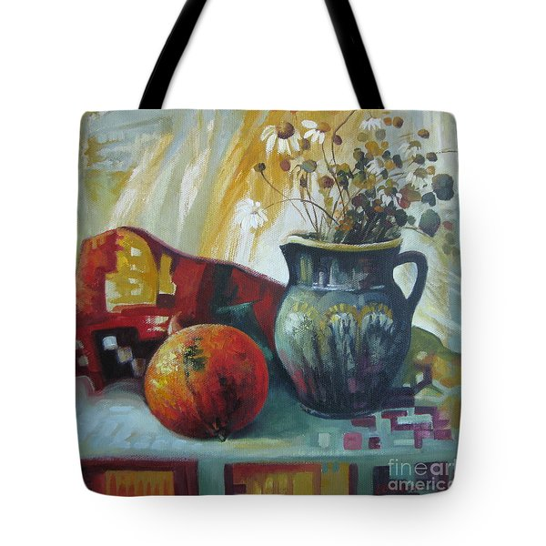 Tote Bag featuring the painting Autumn Story by Elena Oleniuc