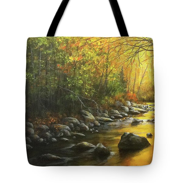Tote Bag featuring the painting Autumn Stream by Kim Lockman