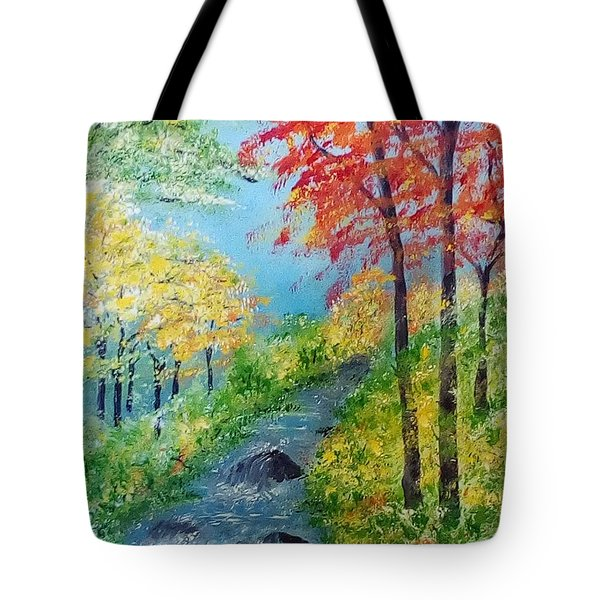 Tote Bag featuring the painting Autumn Stream by Sonya Nancy Capling-Bacle
