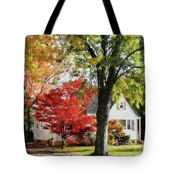 Autumn Street With Red Tree Tote Bag by Susan Savad