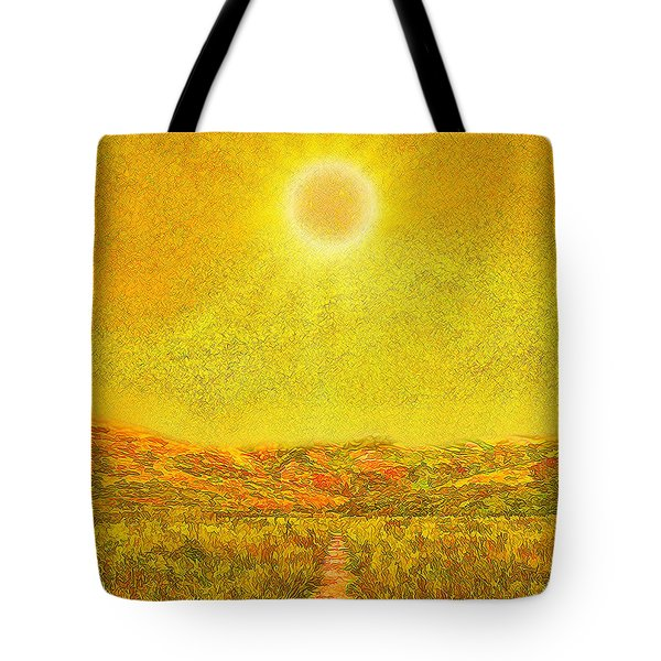 Tote Bag featuring the digital art Golden Sunlit Path - Marin California by Joel Bruce Wallach
