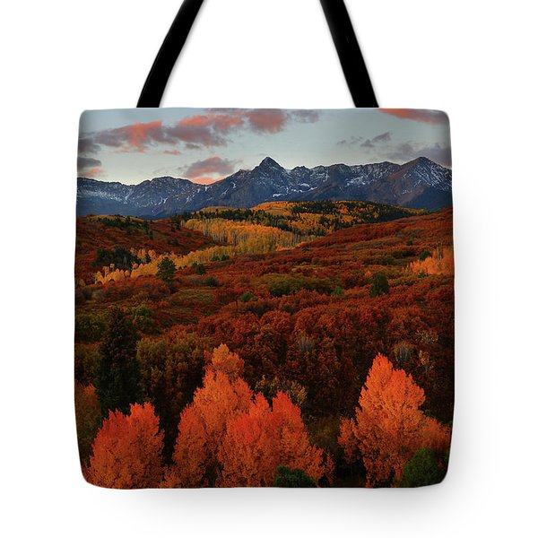 Tote Bag featuring the photograph Autumn Sunrise At Dallas Divide In Colorado by Jetson Nguyen