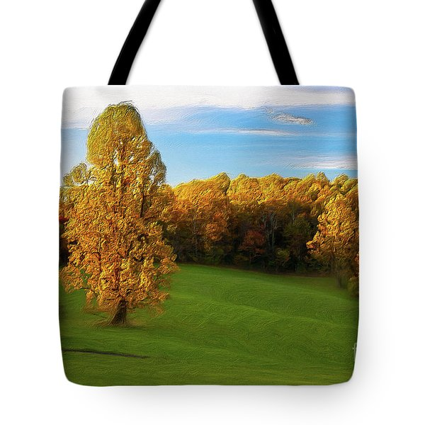 Tote Bag featuring the painting Autumn Sunrise On A Blue Ridge Meadow Ap by Dan Carmichael