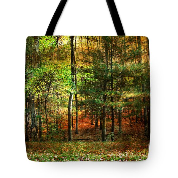 Autumn Sunset - In The Woods Tote Bag