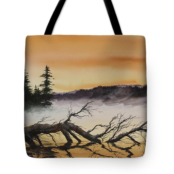 Tote Bag featuring the painting Autumn Sunset Mist by James Williamson