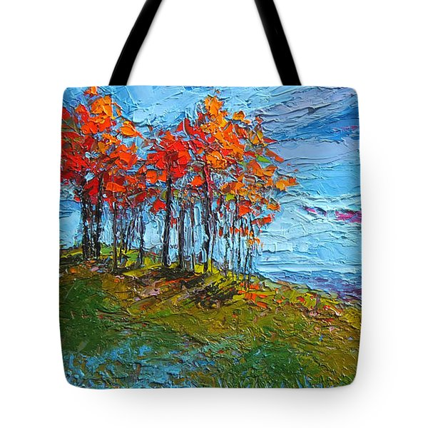 Tote Bag featuring the painting Autumn Sunset - Modern Impressionist Palette Knife Oil Painting by Patricia Awapara
