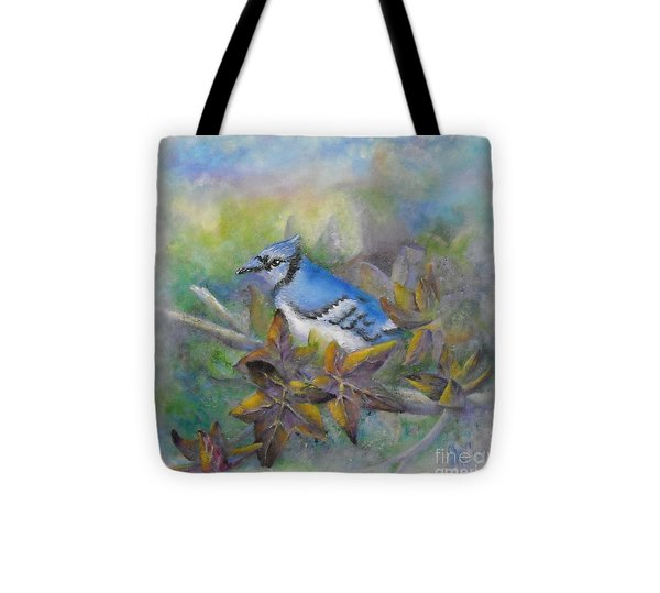 Autumn Sweet Gum With Blue Jay Tote Bag by Sheri Hubbard