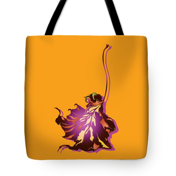 Tote Bag featuring the digital art Autumn Sycamore Leaf by MM Anderson