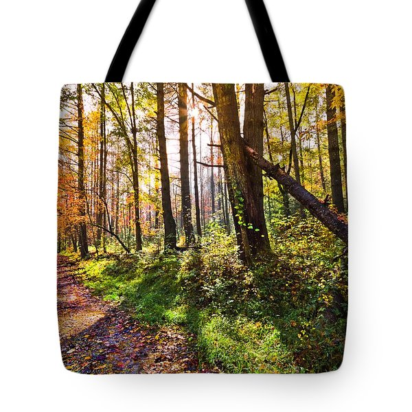 Autumn Trail Tote Bag by Debra and Dave Vanderlaan