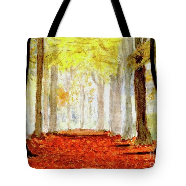Tote Bag featuring the painting Autumn Trail by Yoshiko Mishina