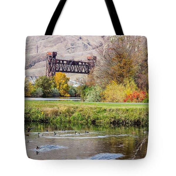 Autumn Train Bridge Tote Bag