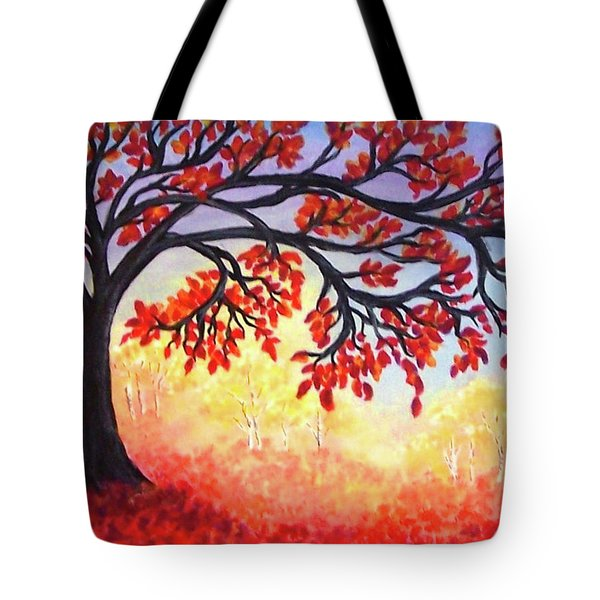 Tote Bag featuring the painting Autumn Tree by Sonya Nancy Capling-Bacle