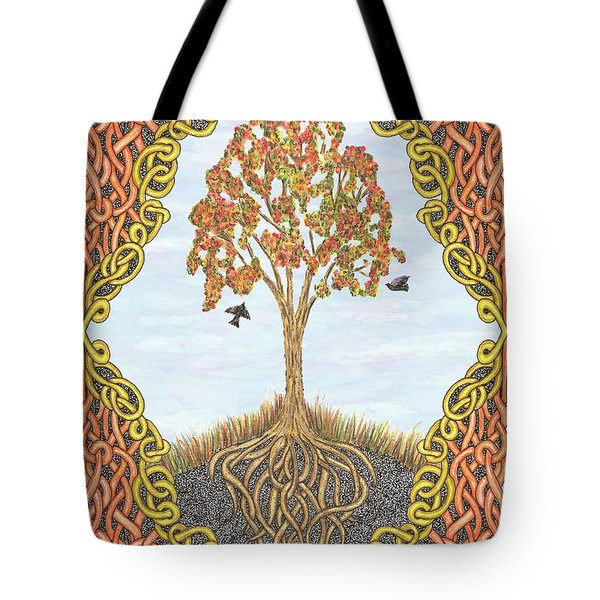 Autumn Tree With Knotted Roots And Knotted Border Tote Bag