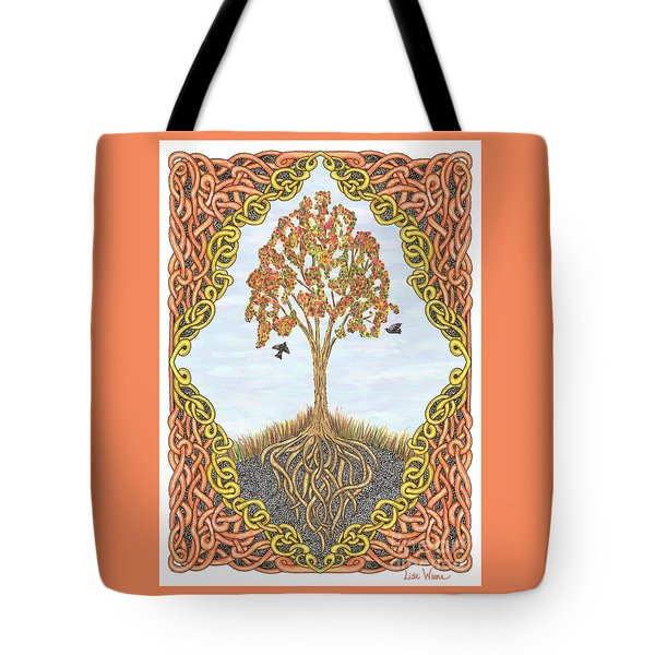 Tote Bag featuring the drawing Autumn Tree With Knotted Roots And Knotted Border by Lise Winne