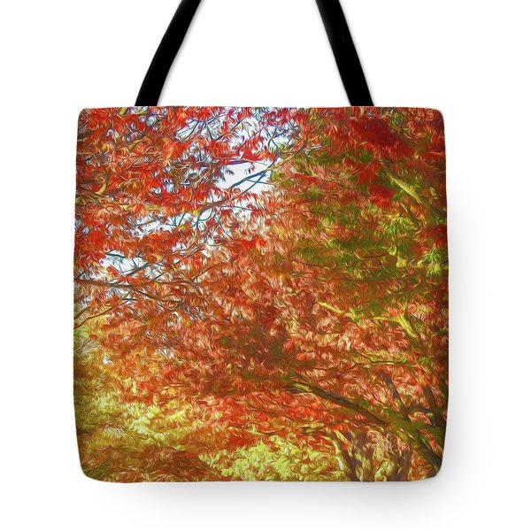 Autumn Trees Digital Watercolor Tote Bag