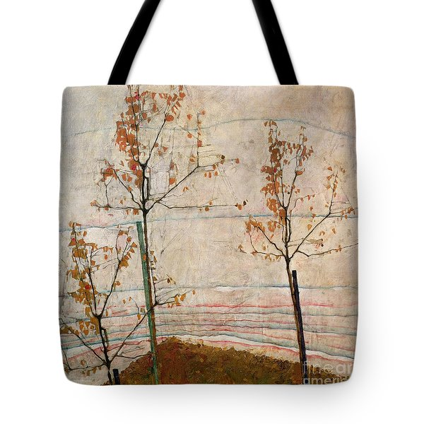 Autumn Trees Tote Bag by Egon Schiele
