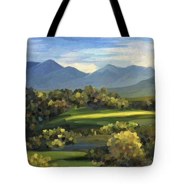 Tote Bag featuring the painting Autumn Trees by Ivana Westin