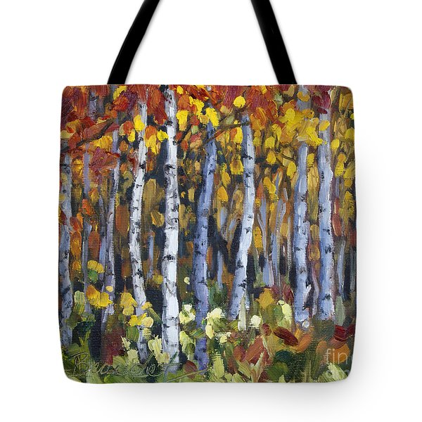 Tote Bag featuring the painting Autumn Trees by Jennifer Beaudet