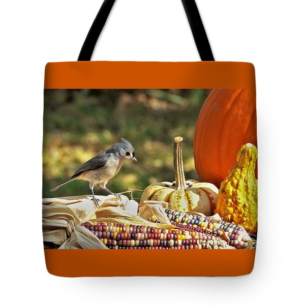 Tote Bag featuring the photograph Autumn Tufted Titmouse by Sheila Brown