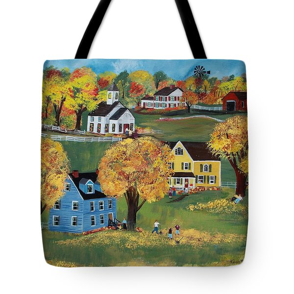 Tote Bag featuring the painting Autumn by Virginia Coyle