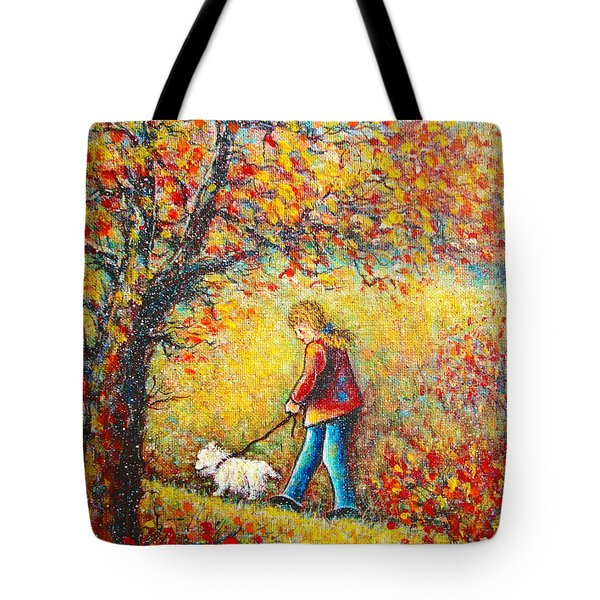 Tote Bag featuring the painting Autumn Walk  by Natalie Holland