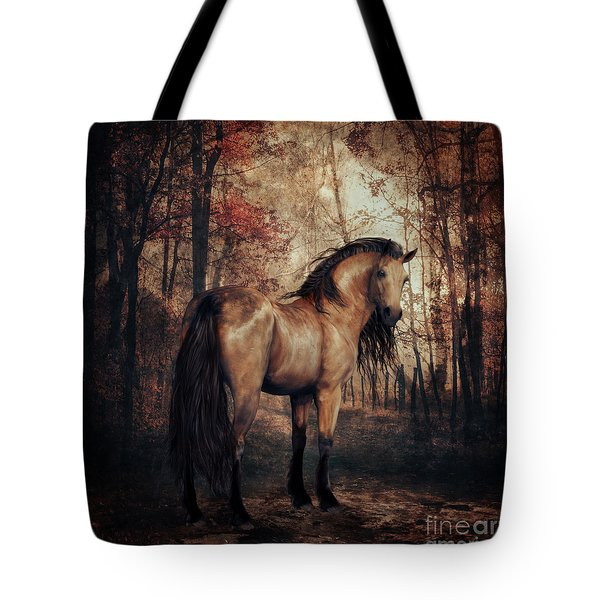 Tote Bag featuring the digital art Autumn Walk by Shanina Conway