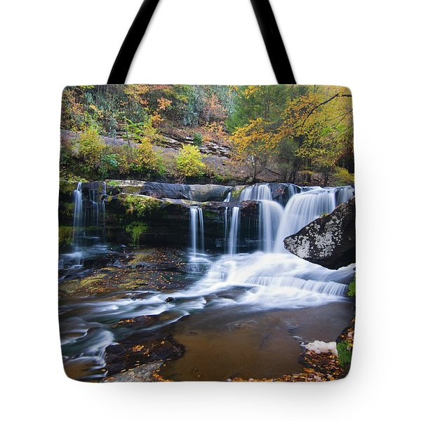Tote Bag featuring the photograph Autumn Waterfall by Steve Stuller