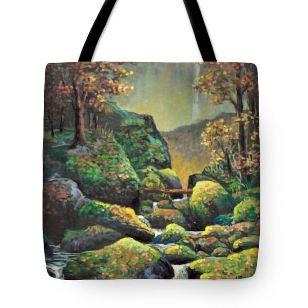 Tote Bag featuring the painting Autumn Waterfalls by Lou Ann Bagnall