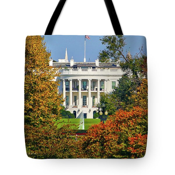 Tote Bag featuring the photograph Autumn White House by Mitch Cat