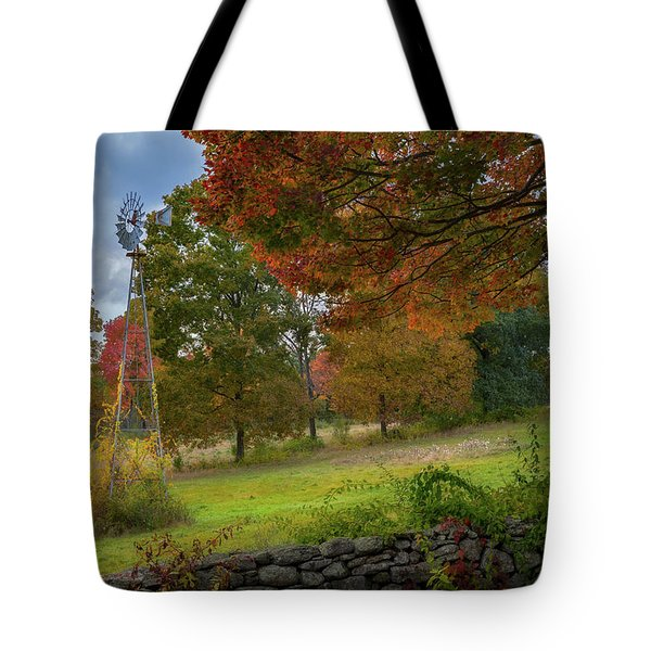 Tote Bag featuring the photograph Autumn Windmill by Bill Wakeley