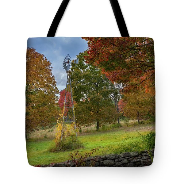 Tote Bag featuring the photograph Autumn Windmill Square by Bill Wakeley